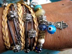 """Boho Chic Endless Leather and Chain Wrap Beaded Evil Eye Hamsa Bracelet with Gold, Silver Accents....""""FREE SHIPPING""""  by LeatherDiva, $38.00"""