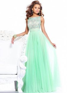 Chiffon A-line Bateau Neck Natual Waist Floor-length V-back Appliques Prom Dress