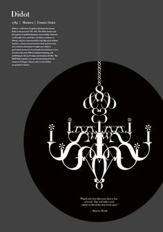 This poster shows a resemblance between a chandelier and the typeface Didot. The gray and black color also resemble what comes to mind when we think of the Poster Fonts, Typographic Poster, Typography Fonts, Typography Design, Posters, Text Design, Book Design, Firmin Didot, Fashion Typography