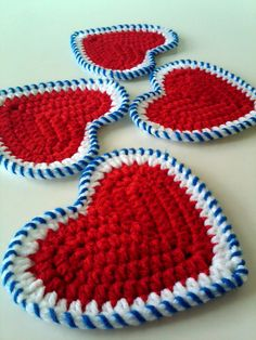 American Patriotic Heart Crocheted Coasters - Set of 4 - Red White and Sparkly Blue
