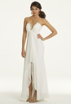 Camille La Vie Illusion Back Halter Prom Dress in Ivory and Gold! Style # 22730/6851
