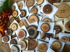 Handmade Wood Wooden Tree Branch Buttons - Stunning and Rustic Assortment of 36 Wood Tree Branch Buttons.