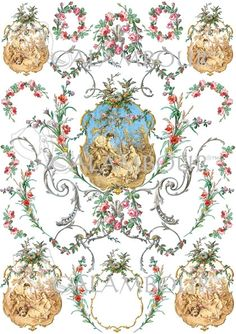 Calambour paper, glossy, light with great adhesion. Pattern:  flowers, ornaments, garlands, roses, subjects, baroque, gold, leaves