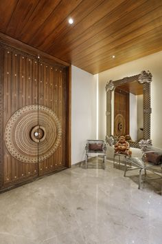 Mansion House Design With Modern And Ergonomic In Function Design Studio-Ruchir sheth - The Architects Diary Wooden Main Door Design, House Main Door Design, Door Design Interior, Bedroom Door Design, House Doors, Luxurious Bedrooms, Ceiling Design, Modern House Design, Villa