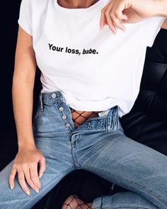 ~ Everything ❤️ Total BABE Victoria Tornegren Casual T Shirts, Casual Outfits, Tee Shirts, Cute Outfits, Fashion Outfits, 90s Fashion, Casual Clothes, Fashion Shirts, Dubai Fashion