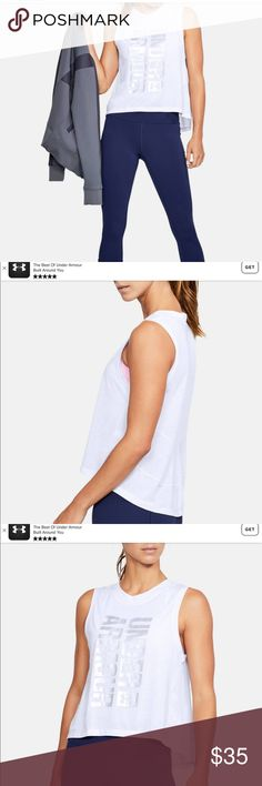 """LADIES UNDER ARMOUR BREATHE STRIPE GRAPHIC TANK Loose: Generous, more relaxed fit. Super-soft, feather-light fabric delivers lasting comfort & breathability Material wicks sweat & dries really fast Drapey high-low hem with back seam detail Classic, dropped arm muscle-T silhouette Semi sheer  18 1/2"""" armpit to armpit lying flat 21 1/2"""" front shoulder to he, 24"""" back shoulder to hem Under Armour Tops Tank Tops"""