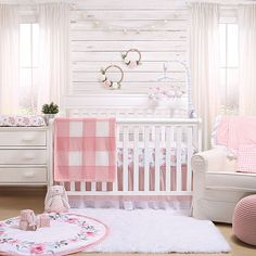 The Peanutshell Farmhouse Crib Bedding Collection White/pink - Wrap your little one in cozy comfort with the charming Farmhouse Crib Bedding Collection from the Peanutshell. Plush fabrics and sweet gingham are sure to create a welcoming nursery. Baby Bedroom, Baby Boy Rooms, Baby Room Decor, Baby Cribs, Nursery Room, Baby Nursery Ideas For Girl, Girl Nursery Bedding, Nursery Curtains, Vintage Nursery Girl