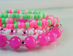 Bracelet Gift Set Bright Pink and Neon Green by beyondcharms