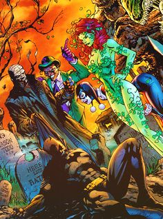 batman, hush, riddler, poison ivy, harely. notice jason todd's grave behind him.