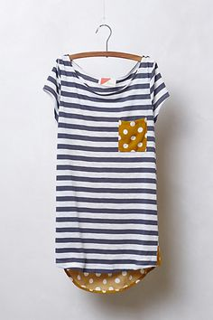 Pattern Pop Tee - Mix knits - stripe as front and back yoke, dot as back (minus yoke) and front pocket
