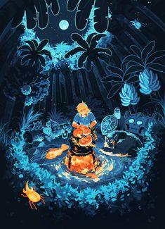 Legend of Zelda Breath of the Wild art > Link cooking food The Legend Of Zelda, Legend Of Zelda Breath, Link Zelda, Breath Of The Wild, Video Game Art, Cute Art, Fantasy Art, Fantasy Landscape, Fairy Tail Anime