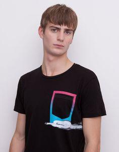 Pull&Bear - homme - t-shirts - t-shirt poche - noir - 05241536-V2015