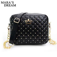 Mara's Dream Small Women Bag Fashion Handbag With Crown Mini Rivet Shoulder Bag Women Messenger Bag 2019 Hot Sale Description Type Pattern type: Solid Style:Casual Fashion Vintage Main material:PU Leather Capacity: Small bag Chain Shoulder Bag, Leather Shoulder Bag, Shoulder Bags, Shoulder Strap, Women's Bags, Girls Messenger Bag, Casual Mode, Bags 2017, Outfits Damen