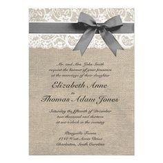 White Lace and Burlap Wedding Invitation. (Maybe w/ a Hint of Coral.) .?