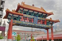 Chinatown Gate with Union Station in Seattle Washington.