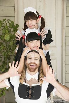 Ladybaby a kawaii metal band 2 teenagers Rie & Rei,  first single as ladybaby last July 2015 Rie Kaneko, Ladybeard and Rei Kuromiya Meet Ladybeard, the Bearded Crossdressing Australian Man Taking Japan by Storm -This hairy, smiling, cross-dressed wrestler, martial arts , death metal singer, man is the latest sensation in Japan, but his fame is growing beyond the borders of the Asian country! He's Australian and his real name is Richard Magarey, but you can call him Ladybeard.