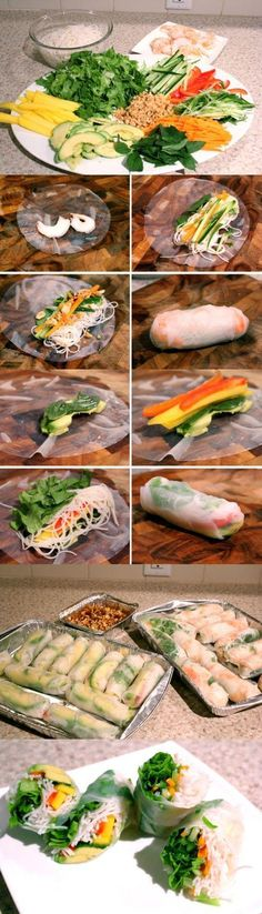 Shrimp Salad Rolls and Avocado Mango Salad Rolls - Joybx(Vegan Sushi Soy Paper) I Love Food, Good Food, Yummy Food, Tasty, Healthy Snacks, Healthy Eating, Healthy Recipes, Comidas Light, Salad Rolls