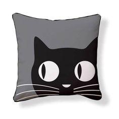 Big Eyes Cat 18x18 Black