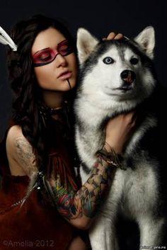 """Фотосессия в индейском стиле с хаски. - 8 Августа 2012 - Дрессированные животные для съемок """"Animal Pro"""""""