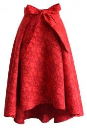Scarlet Jacquard Floral Waterfall Skirt