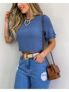 Retro Outfits, Cute Casual Outfits, Stylish Outfits, Summer Outfits, Look Fashion, Fashion Outfits, Fashion Trends, Looks Black, Basic Tees