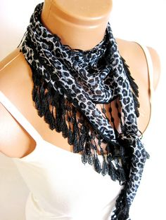 Gray Black White Leopard Scarf Turkish Fabric by WomanStyleStore, $14.00