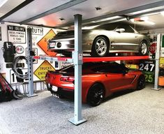 Car Lifts by Advantage Lifts - Superior Design For Work and Storage Home Car Lift, 4 Post Car Lift, Four Post Lift, Garage Car Lift, Dream Garage, Car Stacker, Car Storage, Garage Storage, Ultimate Garage
