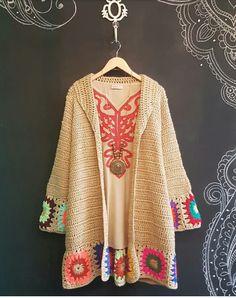 Crochet Baby Dress Pattern, Crochet Coat, Crochet Jacket, Crochet Cardigan, Crochet Clothes, Crochet Patterns, Hippie Crochet, Mode Crochet, Crochet Fashion