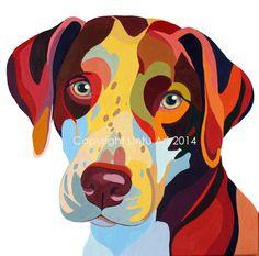 Portrait of my dog Bodhi by Sarah Thornton of Lintu Art