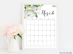 2021 Calendar Watercolour Calendar 2021 Botanical Wall | Etsy