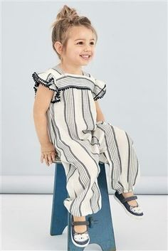 Buy Navy/White Stripe Playsuit from the Next UK online shop Girls Playsuit, Striped Playsuit, Little Girl Fashion, Kids Fashion, Fashion Tips, Cheap Kids Clothes, Children Clothes, Kids Clothing, Stripes Fashion