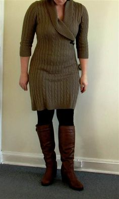 Nice sweater dress with leggings and brown boots 2017-2018 Check more at http://24myfashion.com/2016/sweater-dress-with-leggings-and-brown-boots-2017-2018/