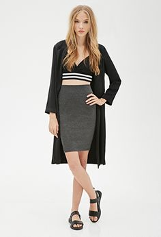 Heathered Knit Pencil Skirt | FOREVER21 - 2000134903