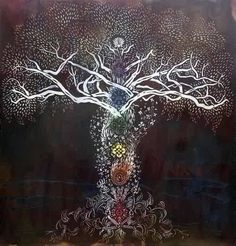 "Chakra Tree-   ""…keep attention in the inner energy field of the body as you look around the room. The inner body lies at the threshold between your form identity and your essence identity, your true nature. Never lose touch with it.""----- Eckhart Tolle in The Power of Now"