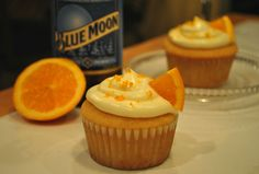 Blue Moon Beer Cupcakes! With Orange Cream Cheese Buttercream frosting