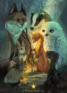 Wonderful Illustration by Kiri Leonard. All the woodland animals in this digital drawing... owl, hare, hedgehog, fox, badger! Amazing!