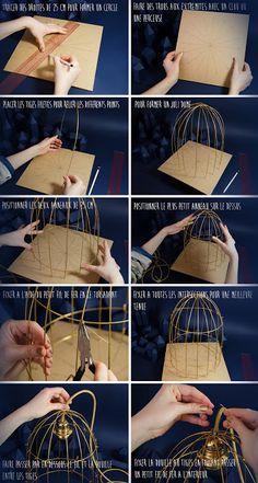Cantinho craft da Nana: Luminária de arame Wire Crafts, Birdcage Light, Birdcage Lamp, Birdcage Planter, Diy Home Decor, Cage Light Fixture, Light Fixtures, Diy Bird Cage, Birdcages