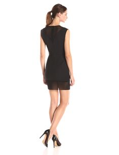 0435f4aa6d5e0 French Connection Womens Glass Stretch Cap Sleeve Dress Black 0 *** You can  get more details by clicking on the image.