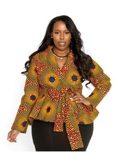 Beautiful ankara peplum top with belt for plus size big and beautiful curvy women, chubby ladies ankara peplum tops, latest classy ankara peplum tops for big and beautiful women African Blouses, African Tops, African Dresses For Women, African Attire, African Fashion Dresses, African Wear, African Women, African American Fashion, African Print Fashion