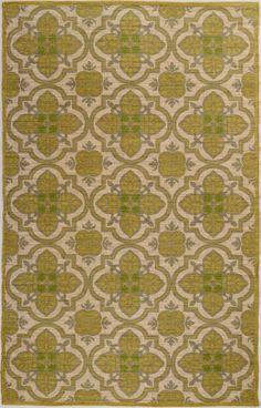 5'x8' Green Arabesque Jute and Cotton Rug