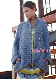 Уютный темно-голубой кардиган с широкими планками и карманами. Вязание спицами