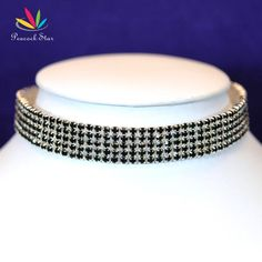 Peacock Star Bridal Wedding  Party 5 Row Stretch Black Crystal Rhinestone Choker Pageant CC015