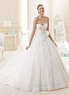 JW15134 classic organza ball gown lace wedding dress