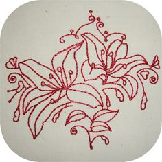 Instant Download Decorative Lilies RW 4x4 by UnlimitedStitching
