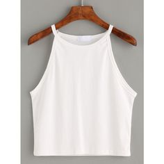 cffb88bd197 White High Neck Crop Cami Top ( 5.99) ❤ liked on Polyvore featuring tops