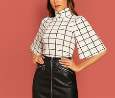 To find out about the Turtle Neck Bell Sleeve Grid Top at SHEIN, part of our latest T-Shirts ready to shop online today! Fashion Night, Fashion News, Fashion Online, Half Sleeves, Types Of Sleeves, Spring Outfits Women Casual, Georgia, Pulls, Mock Neck