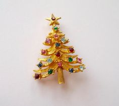 Vintage Mylu Christmas Tree Pin Book Piece by fewnicethings