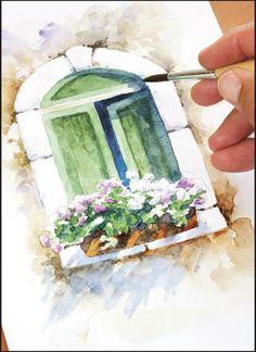Рисуем старинное окно акварелью