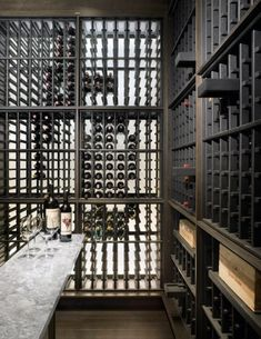 I want a cellar in my house! Beautiful textures created by wine racks. Wine Shelves, Wine Storage, Cafe Bar, Caves, Bar A Vin, Home Wine Cellars, Wine Cellar Design, Wine Display, Bottle Display