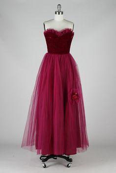 vintage 1950s magenta tulle and velvet dress